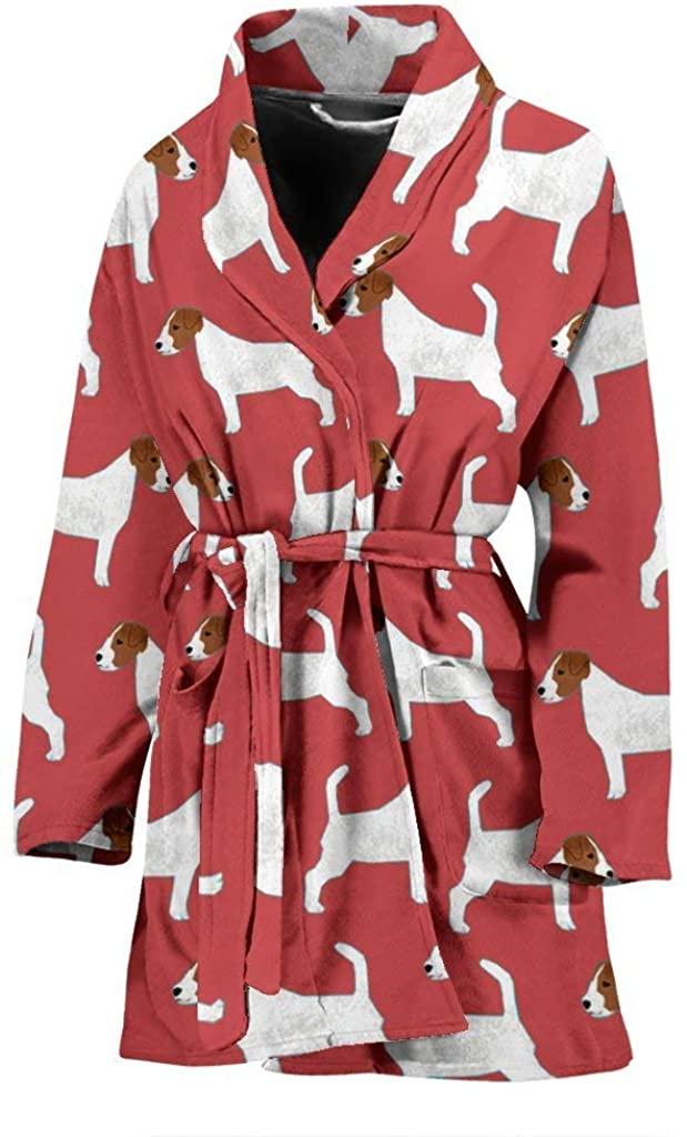 Semify Pets Russell Terrier Dog Pattern Print Women's Bath Robe