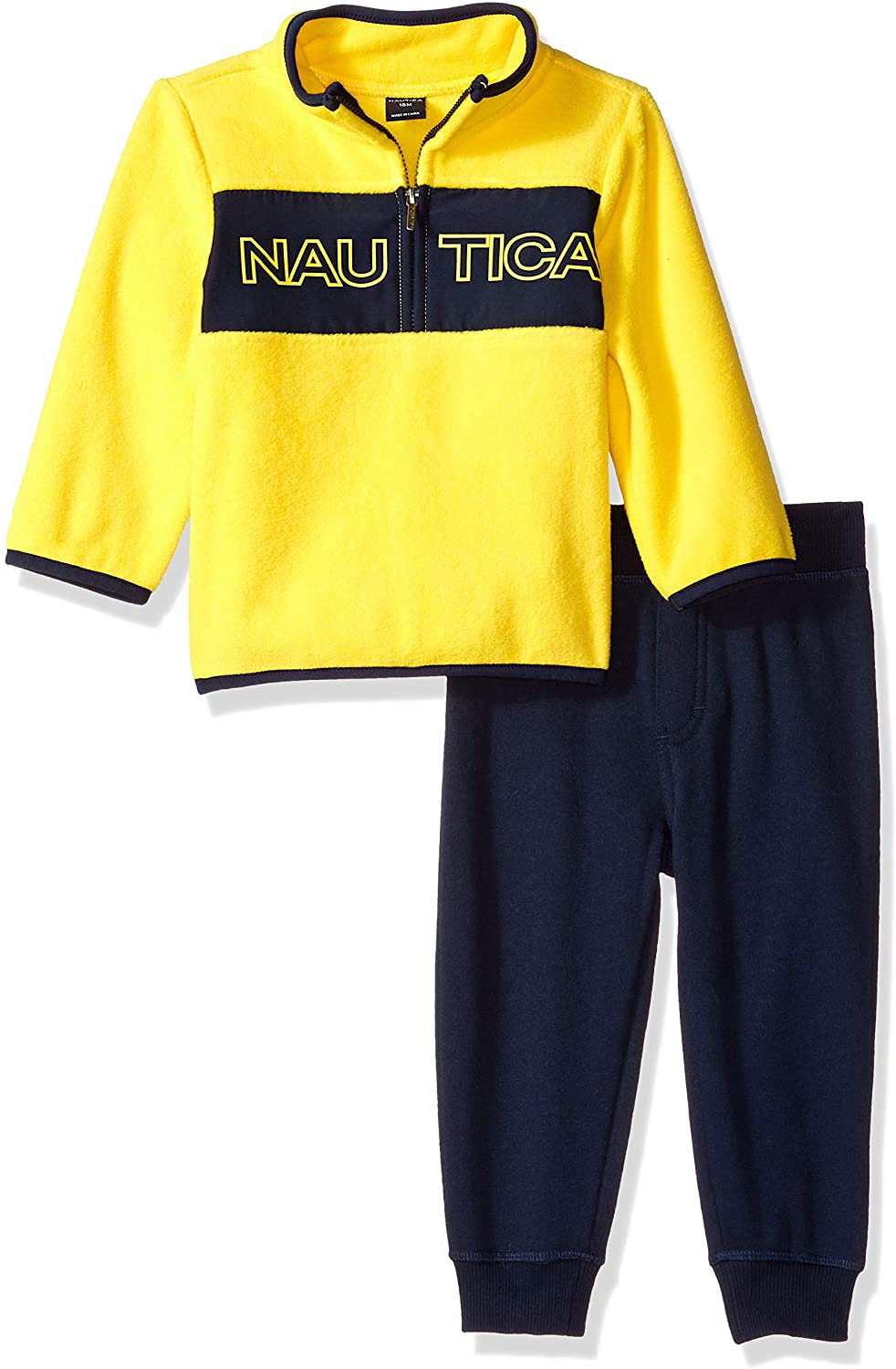 Nautica Kids & Baby 2 Pieces Pullover Pants Set, Yellow/Navy, 18M