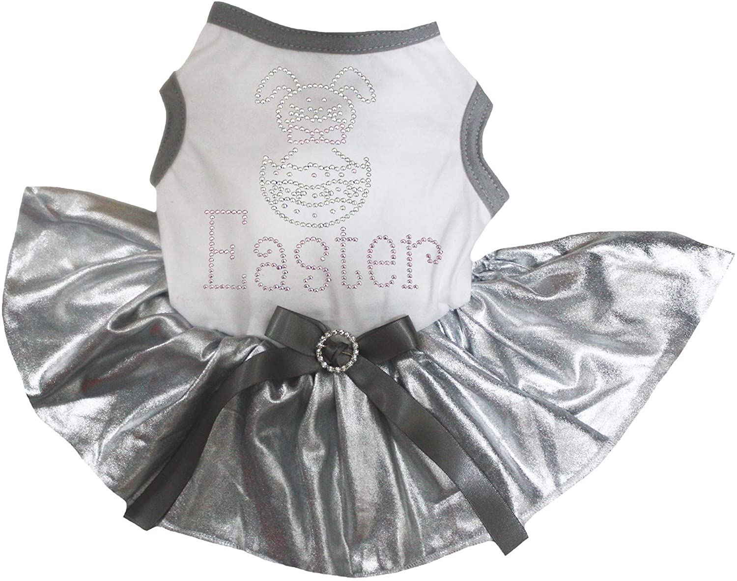 Petitebella Puppy Dog Clothes Bling Easter Bunny Egg White T-Shirt Silver Dress