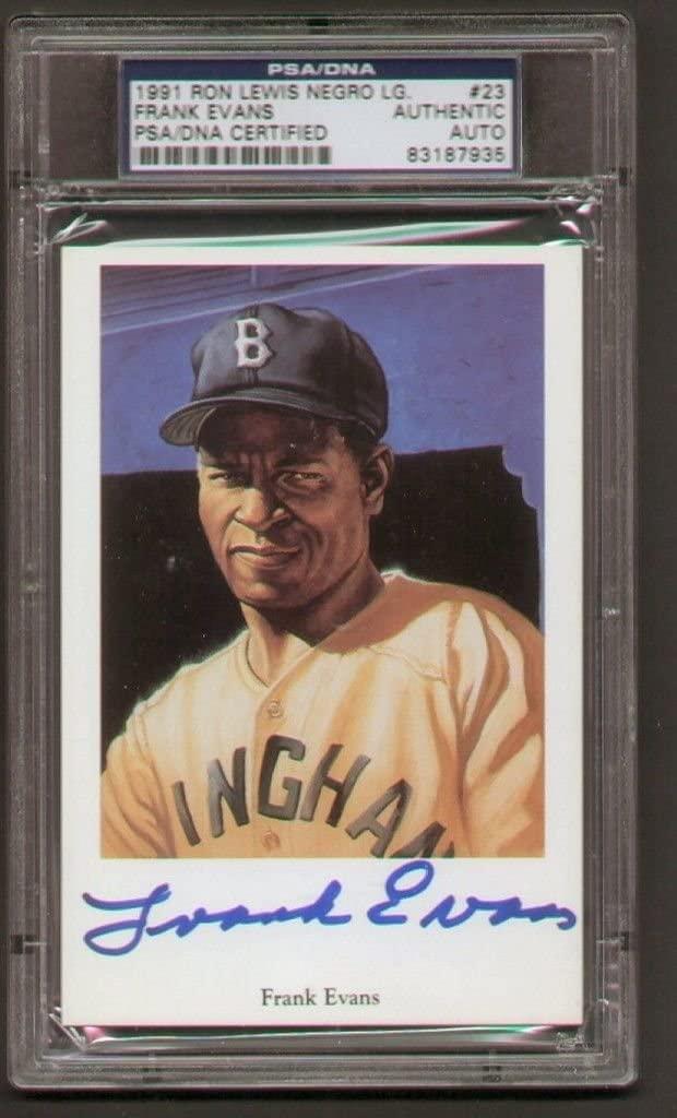 Frank Evans signed autograph 1991 Ron Lewis Negro League Postcard PSA Slabbed