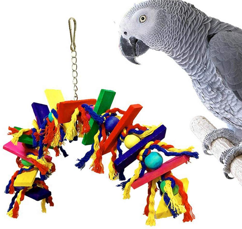 Studyset Parrot Toy,Multicolored Wooden Blocks Tearing Toys Wooden Colored Rope Knot Wooden Block Chewing Biting Toy for Bird Parrot Pet