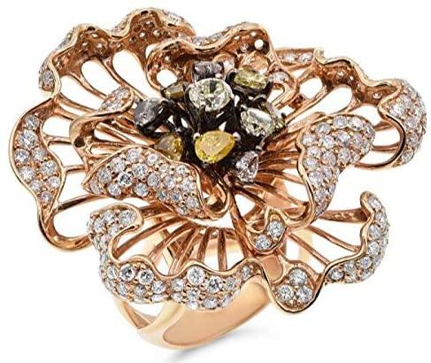 LARGE 4.50CT WHITE & MULTI COLOR DIAMOND 18KT ROSE GOLD 3D FLOWER COCKTAIL RING