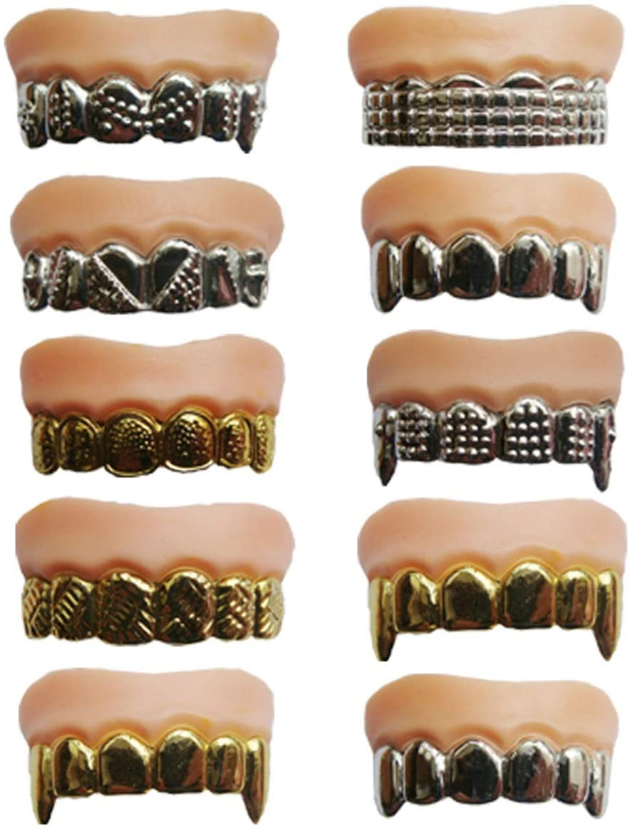 HYSTYLE 10 Pcs Funny Gold Teeth Ugly Fake Teeth Prank Toy Plastic Troubled Teeth Costume Party Funny Halloween Gag for Halloween Christmas Decoration