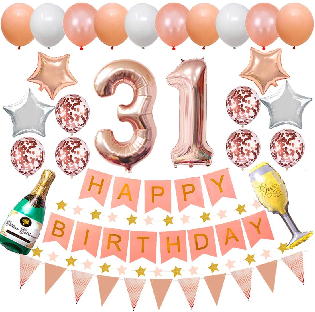 Happy 31st Birthday Party Decorations Rose Gold Latex and Confetti Balloons Happy Birthday Banner Foil Number Balloons and More For 31 Years Old Birthday Party Supplies (colorpartyland)