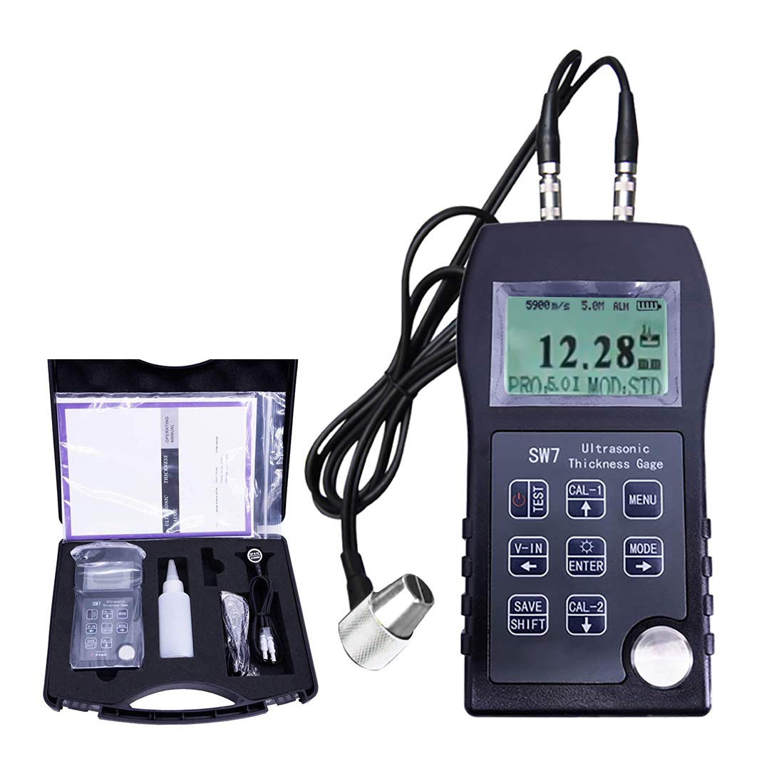 Digital Coating Thickness Gauge 3〜25Mm Portable Ultrasonic Plastic Thickness Tester Metal Pipe Thickness Gauge Meter with Coating Penetration Mode for Polyethylene PVC Etc