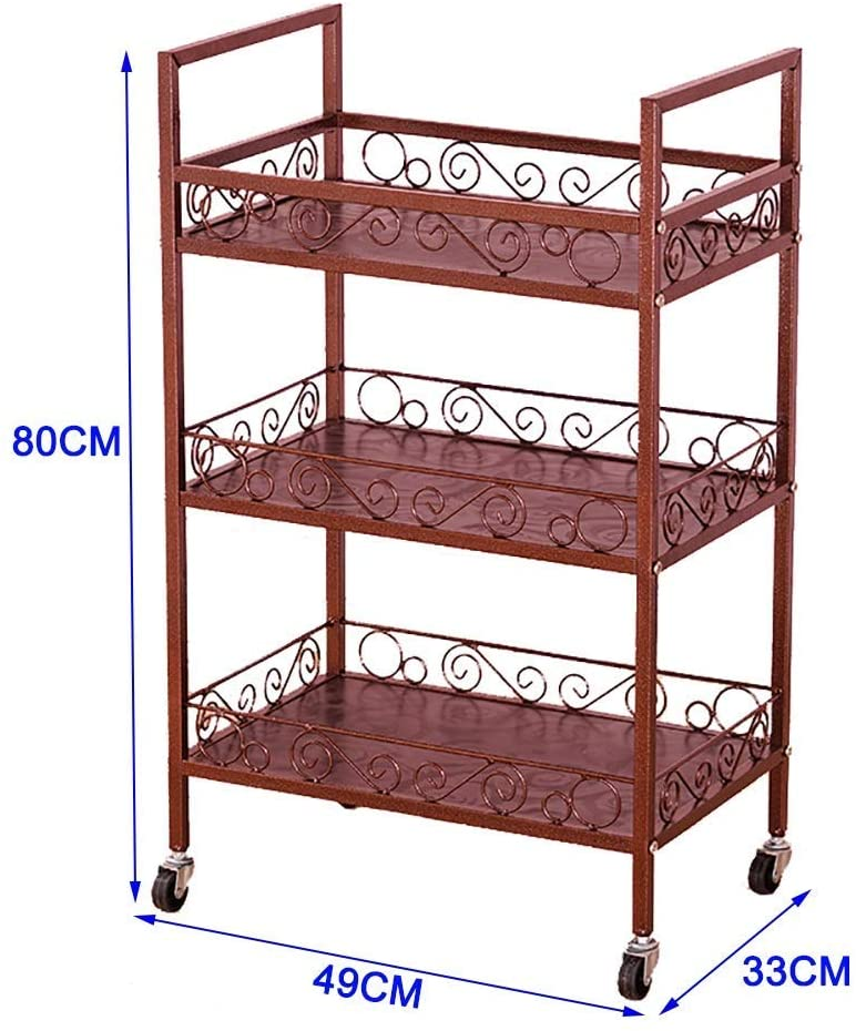LHF Medical Supplies Rack,Hospital Trolley,Medical Cart Tool Mobile Beauty Spa Cart with Universal Wheel, 3 Tier Metal Medical Rolling Trolley for Salons/Hospital, Brown Beauty Furniture