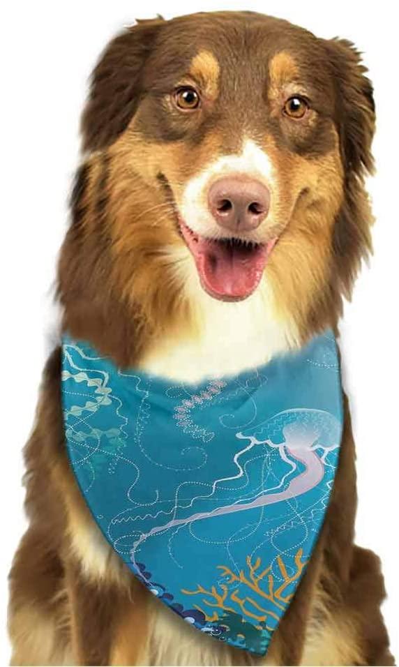 StyleDirect Dog Triangle Bandanas, Aquarium Pet Bandanas, Artistic Jellyfishes Swimming Under The Sea Coral Reef Plants Oceanic Fauna - Dog Accessories