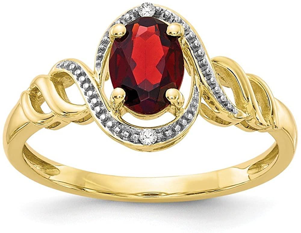 Solid 10k Yellow Gold Garnet January Red Gemstone Diamond Engagement Ring (.02 cttw.)