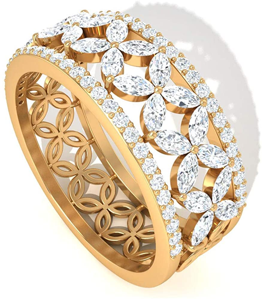 Daisy IJ-SI Color Clarity Diamond Flower Band Ring, IGI Certified Pave Diamond Eternity Ring, Mothers Birthday Marquise Ring, Wedding Bridal Ring Sets, 14K Yellow Gold, Size:US 9.0