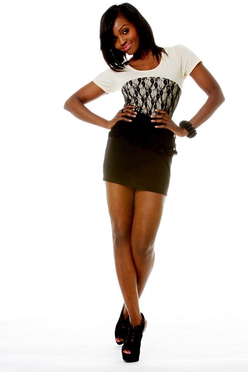 SuperModelGear Women's Cream Lace Peplum Minidress