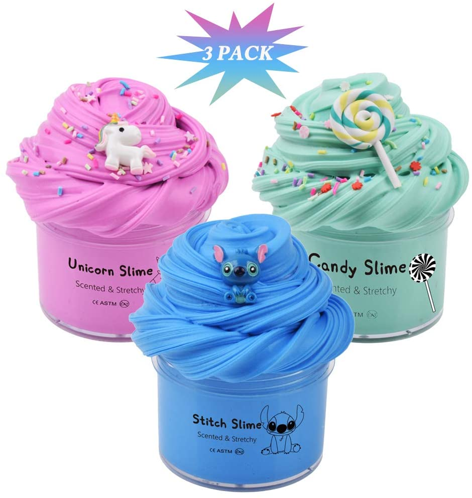 WUJYLY Slime Kit with Butter Slime of 3 Pack,Pink Unicorn Slime,Blue Stitch Slime and Candy Slime, Scented Slime Soft and Non Sticky ,Slime for Kids ,Surprise Slime Toys