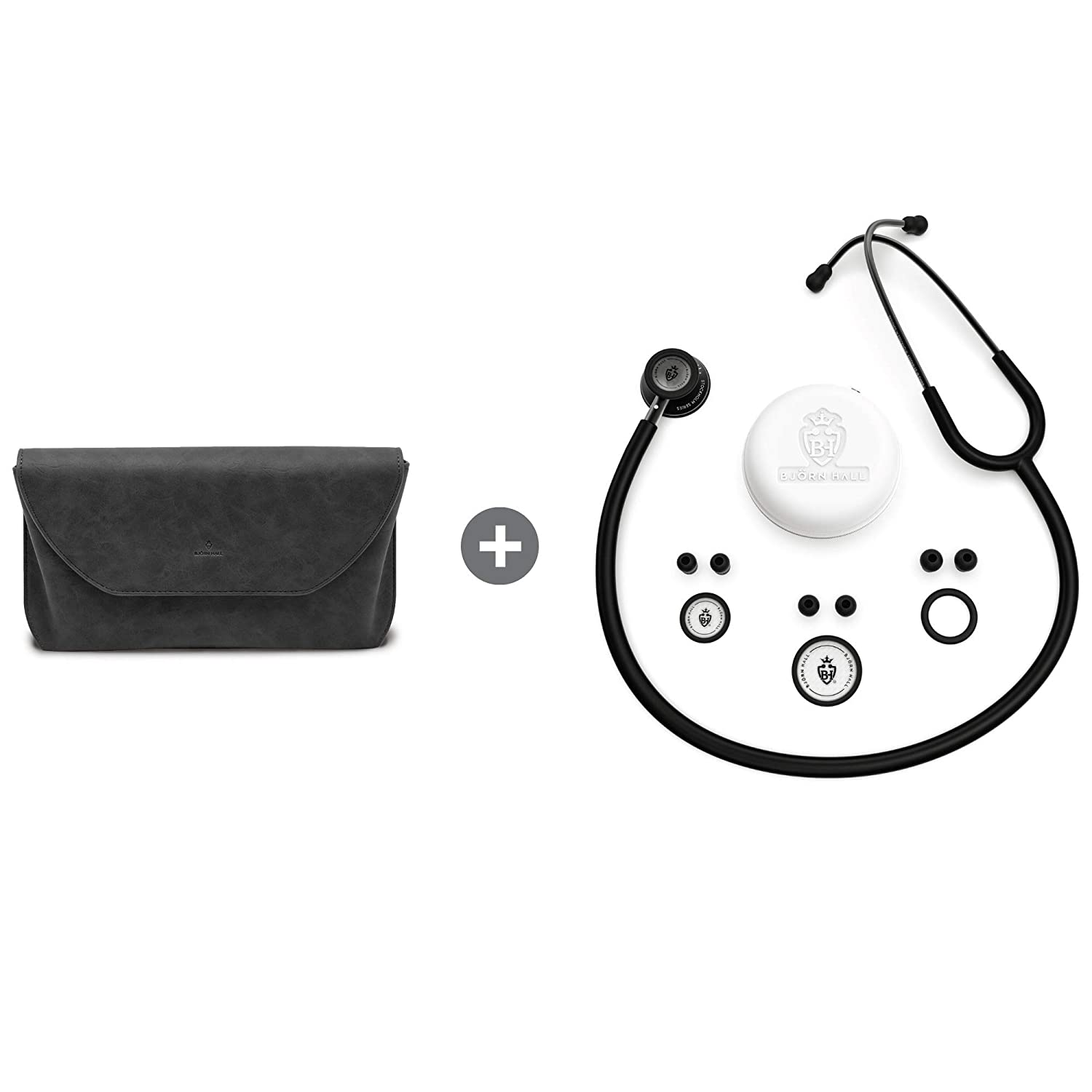 BJÖRN HALL Scandinavian Classic Matte Black Stethoscope & Black Carrying Case | Both are Lightweight & Stylish | Perfect Gift for Any Nurse