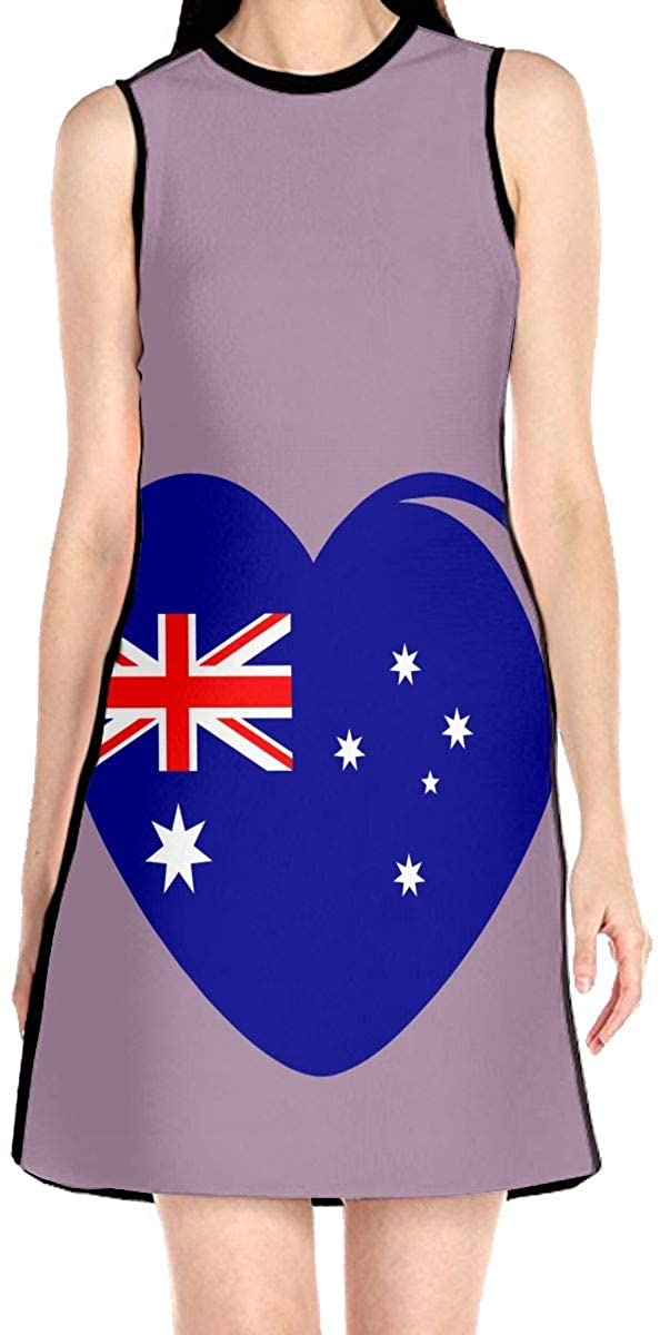 VJH-YY Australian Flag Heart Women's Sleeveless Dress Casual Slim A-Line Dress Tank Dresses
