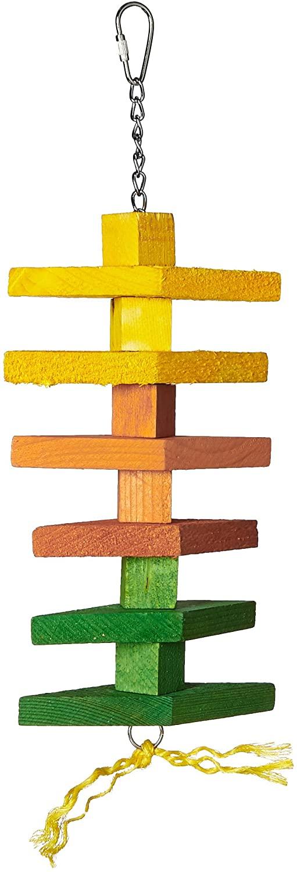 Featherland Paradise, Colorful Diamond & Block Shaped Wood Chew Tug Bird Toy