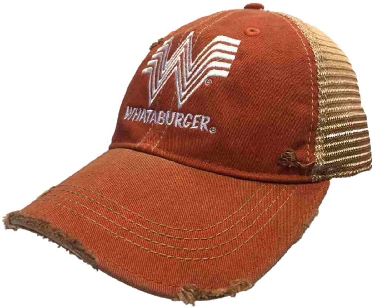 Whataburger Restaurant Retro Brand Orange Distressed Mesh Snapback Hat Cap
