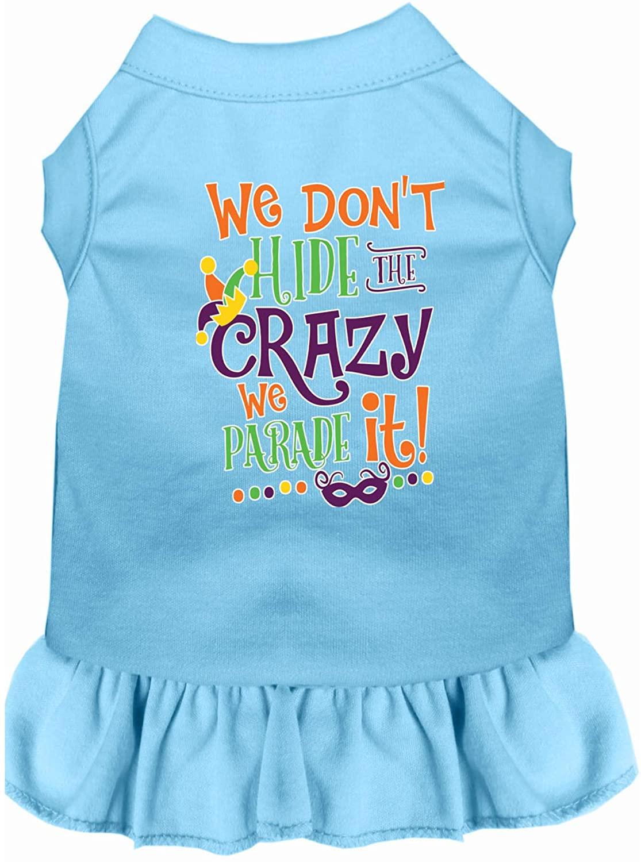 Mirage Pet Product We Don't Hide The Crazy Screen Print Mardi Gras Dog Dress Baby Blue XXXL