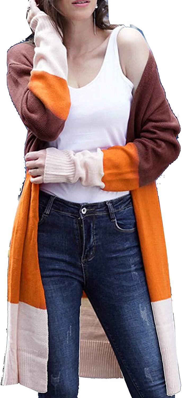 Women's Autumn Open Front Cardigan Strip Color Block Long Sleeves PatchworkLightweight Outwear Sweater Coats