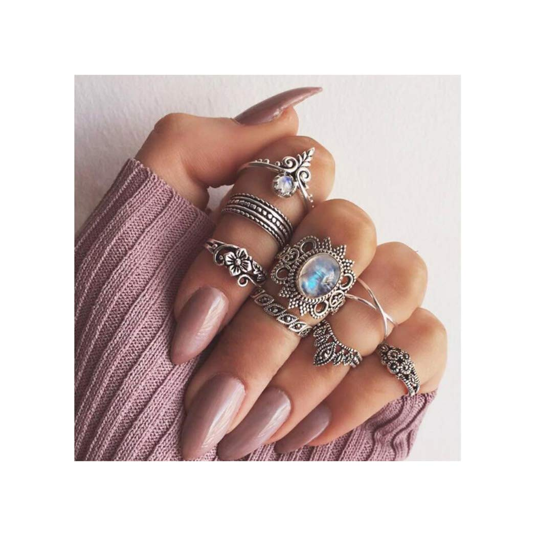 Campsis 8PCS Silver Vintage Crystals Women Ring Sets Floral Knuckle Stacking Multi Size Rings Bohemia Mid Rings for Women and Girls