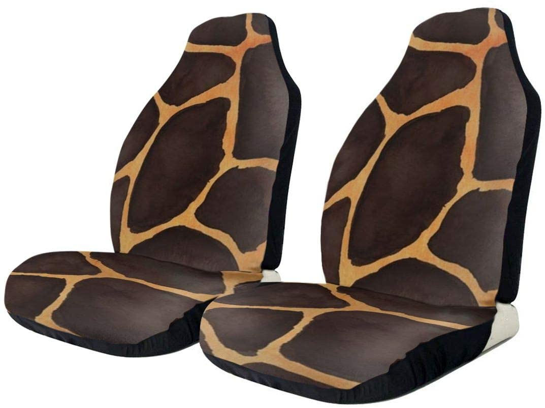 ZENRAEW Car Seat Covers for Women Yellow Leopard Print Pint Front Seat Protector Scratch-Proof Anti-Dirt Washable 2 Pcs