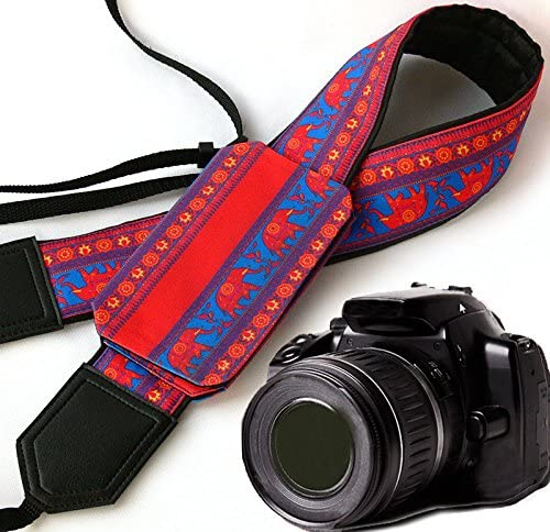 Lucky Elephants Camera Strap with Cap Pocket. Bright red and Blue DSLR/SLR Camera Strap with Paisley Motives. Durable, Light Weight and Padded Camera Strap. Code 00246