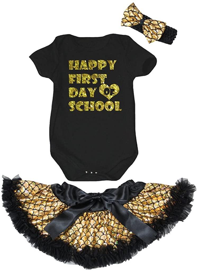 Petitebella Happy First Day Of School Black Romper Gold Scales Skirt Nb-12m