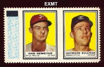 1962 Topps Stamp Panels (Baseball) Card# 61 don demeter/haywood sullivan w/tab of the Philadelphia Phillies ExMt Condition