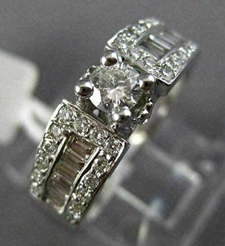 .90CT ROUND & BAGUETTE DIAMOND 14KT WHITE GOLD FOUR PRONG ENGAGEMENT RING