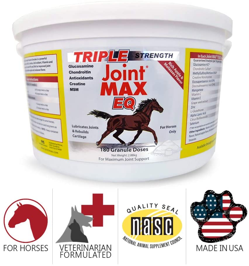 Joint MAX Triple Strength EQ GRANULES for Horses - Support Joint Health - Vitamins, Minerals, Omega 3 Fatty Acids, Antioxidants - 180 Doses