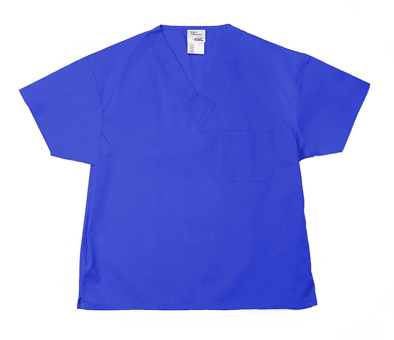 Pinnacle Textile ST61U-XS-RO 4.25 oz. 65/35 Polyester/Cotton Unisex Non Reversible Scrub Top, X-Small, Royal Blue