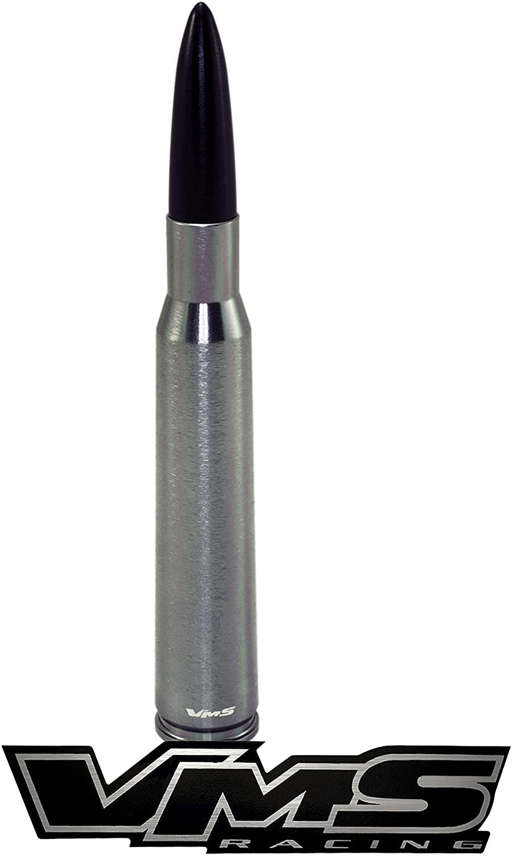 VMS RACING 50 Cal Caliber GUNMETAL BLACK TIP BULLET ANTENNA in Heavy Gauge Billet Aluminum Short Compatible with FORD RAPTOR 10-19 2010-2019