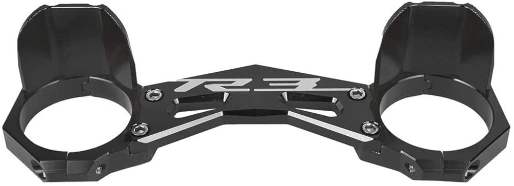 Motorcycle Front Fork Balance Bracket Shock Brace Clamp for Yamaha YFZ R25 2014-2015 YZF R3 2015-2016 (Black)