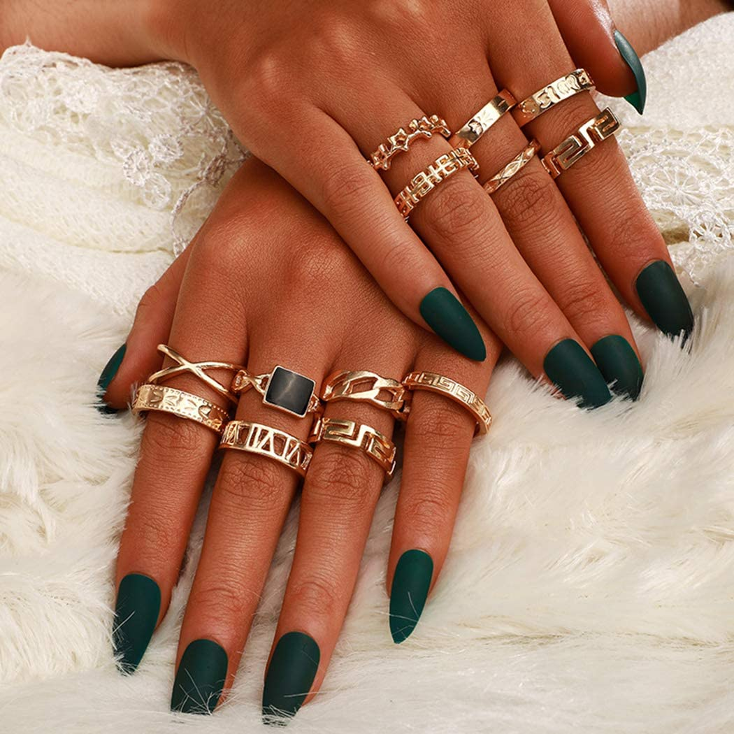 Clairy Vintage Ring Set Gold Gem Stone Mid Joint Rings Star Knuckle Joint Rings Jewelry for Women and Girls 13PCS