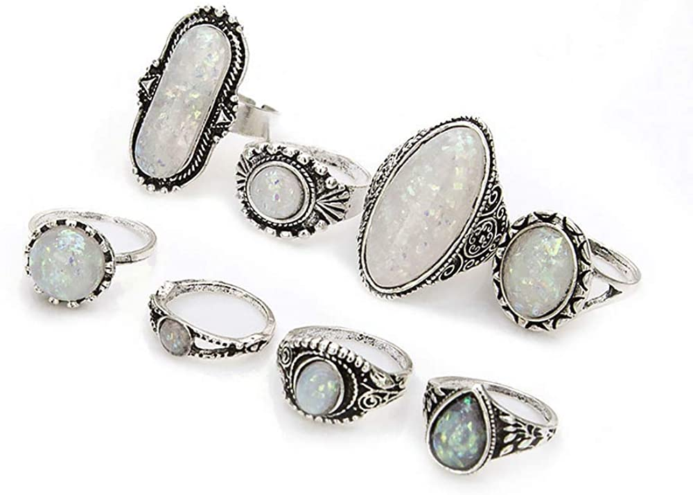 Antique Silver Vintage Boho Retro Artifical Opal Stone Stacking Knuckle Ring Set of 8 pcs