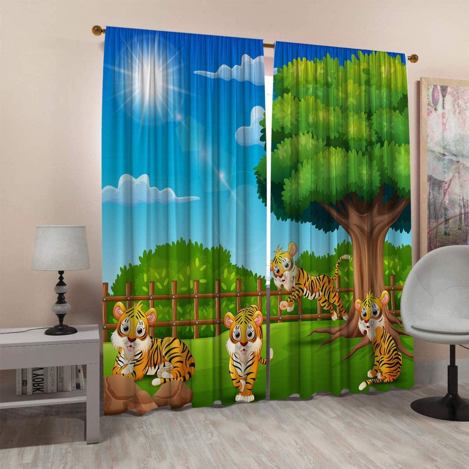 SeptSonne Kids Room Window Curtain Panels Drapes The Little Tiger is A Cage to Enjoy Nature Kids Curtains Boys Artwork Customized Curtains 42x63 Inch