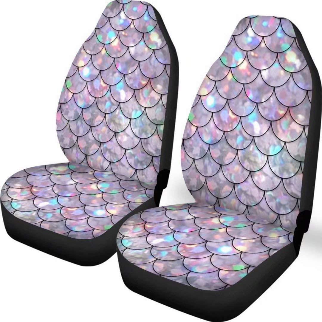 Deeprinter Mermaid Fish Scale Print Car Seat Covers Nonslip Vehicle Seat Covers Set Car Interior Fashion