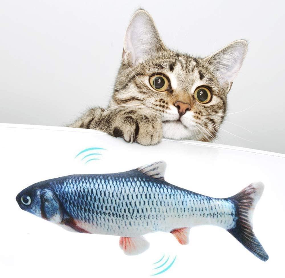 none brand Electric Moving Fish Cat Toy, Realistic Flopping Fish CatKickerToyFish CatnipFishToysforCatsWiggle Sport Kitten Toy Interactive Catnip Toys