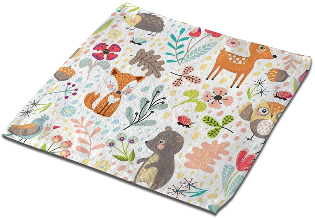Cute Cartoon Forest Animals Square Washcloths Face Wash Cloth Fingertip Towel Rags Soft Merch Gift and Absorbent 13 x 13 inches