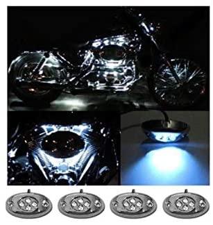 OCTANE LIGHTING 4Pc White Led Chrome Modules Motorcycle Chopper Frame Neon Glow Lights Pods Kit