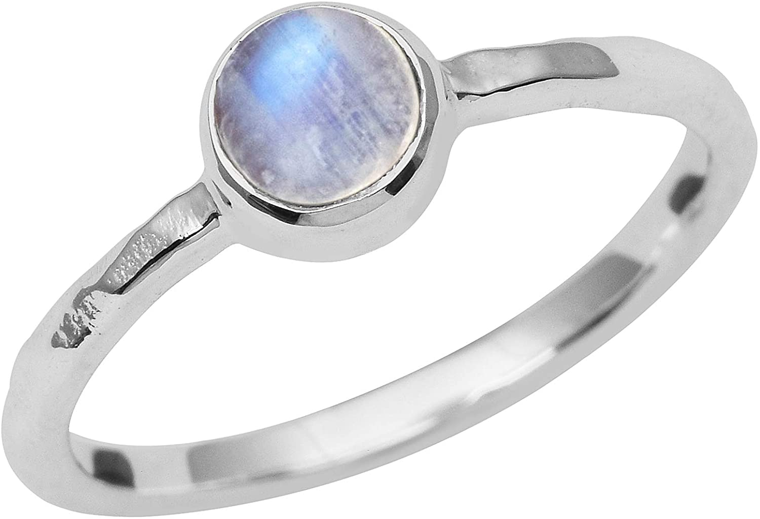 Shine Jewel Bezel Set Rainbow Moonstone 925 Sterling Silver Birthstone Solitaire Ring