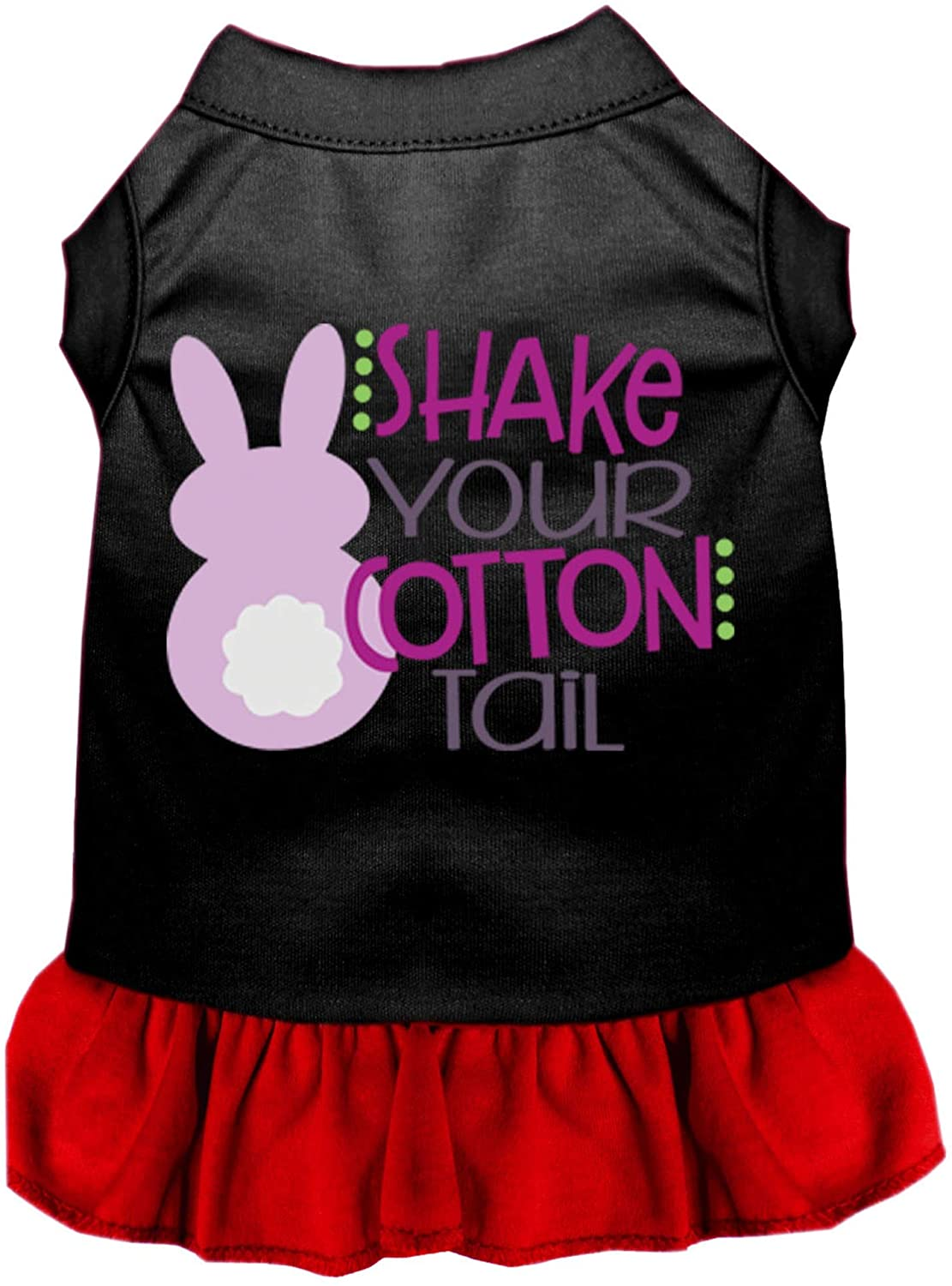 Mirage Pet Product Shake Your Cotton Tail Screen Print Dog Dress Black with Red XXL (18)