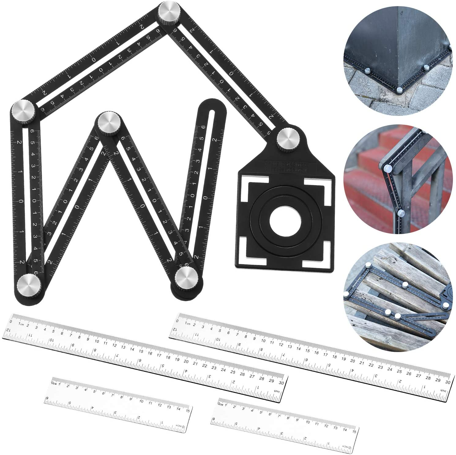 Multi-Angle Measuring Ruler Six-Sided Measuring Tool Aluminum Alloy Ruler Multi Angle Ruler and 4 Pieces 12 Inch and 6 Inch Plastic Rulers for Builders, Craftsmen, Carpenters