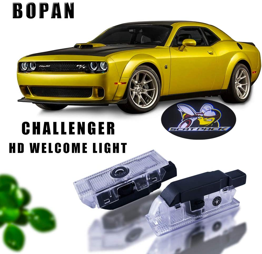 Moderncar Car Door LED Logo for Dodge Challenger Projector Ghost Shadow Light,Entry Welcome Lamp Logo Light,Dodge LED Courtesy Step Lights Ground Lamp Kit Replacement