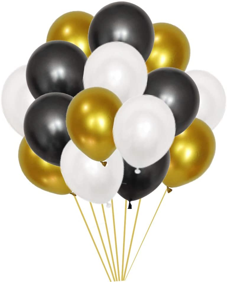 30PCS 12 Inch Metallic Gold Balloons & Black Balloons & White Balloons,Mixed Color Balloons for Wedding Birthday Parties Supplies.