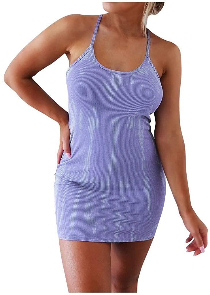 Ghazzi Dresses for Women Sexy Spaghetti Straps Backless Suspenders Tie-dye Print Wrap Mini Dress Sleeveless Halter Dress
