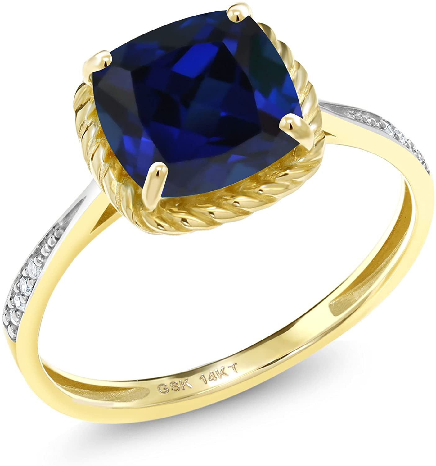 Gem Stone King 14K Yellow Gold Blue Created Sapphire and White Diamond Women's Engagement Ring (2.56 Ct Cushion Cut)