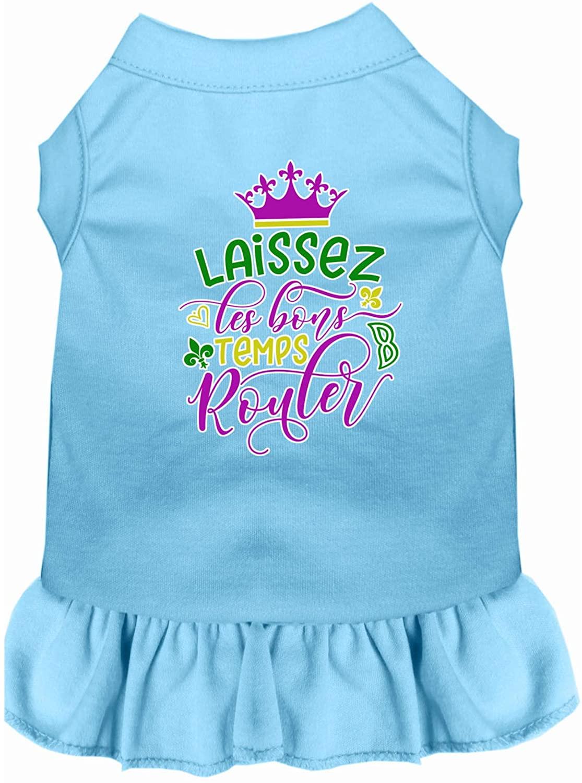 Mirage Pet Product Laissez Les Bons Temps Rouler Screen Print Mardi Gras Dog Dress Baby Blue XS
