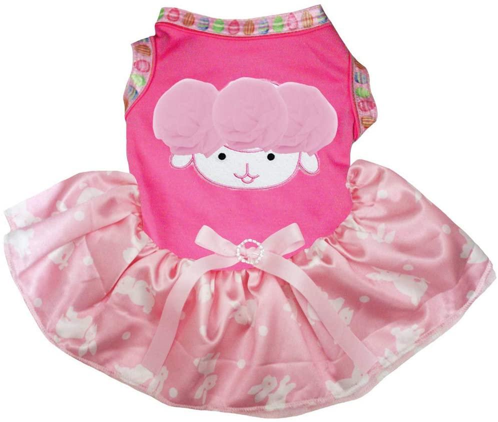 Petitebella Pink Sheep Cotton Shirt Pink Bunny Dots Tutu Puppy Dog Dress