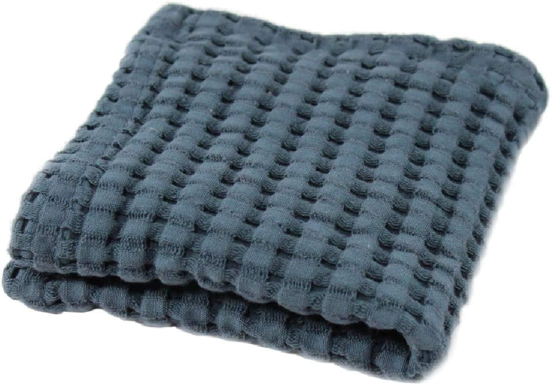 Gilden Tree Premium Wash Cloth 100% Natural Cotton Lattice Waffle Weave, Lint Free Extra Soft Feel, Highly Absorbent and Fast Drying, Modern Design Fade Resistant Colors (Midnight Blue)
