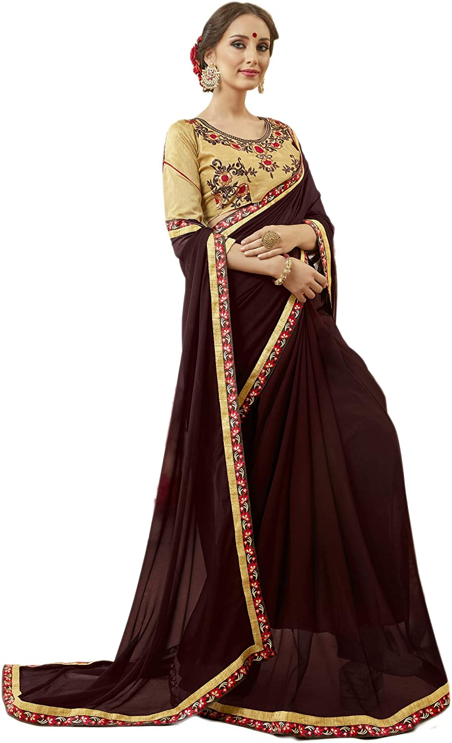Indian Bollywood Designer Ethnic Party Wear Georgette Party Wear Saree Sari Brown