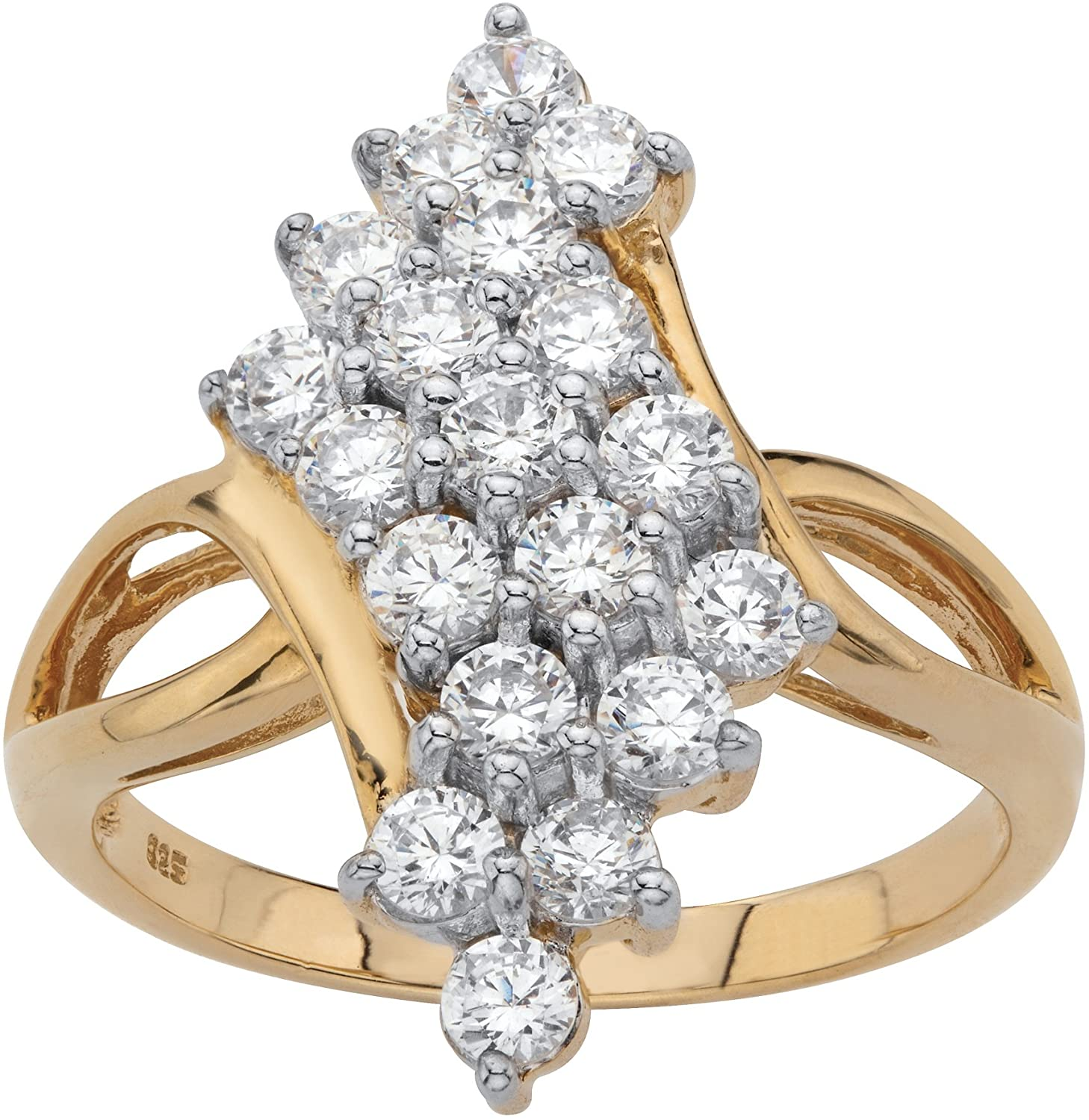 18K Yellow Gold over Sterling Silver Round Cubic Zirconia Bypass Cluster Ring